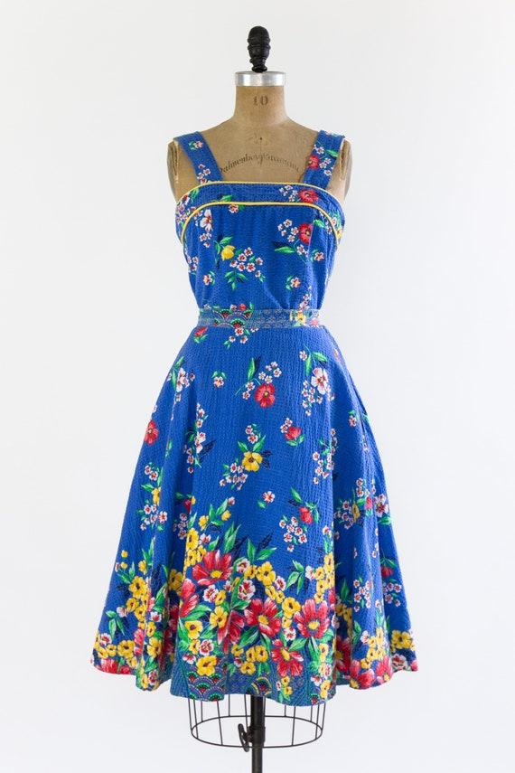 vintage 1940s sundress | 40s blue floral cotton s… - image 3