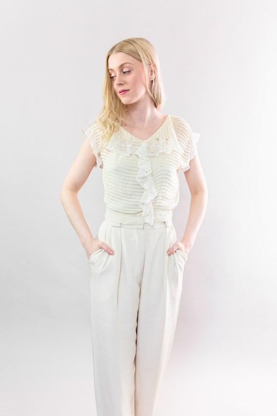 vintage 1920s blouse | antique silk chiffon crepe… - image 2