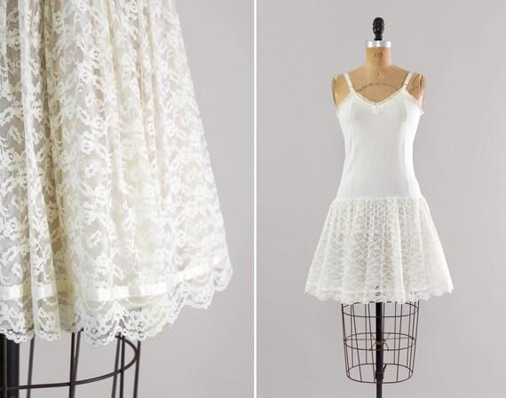 vintage 1950s petticoat slip | white lace 50s lingerie | short petticoat dress slip