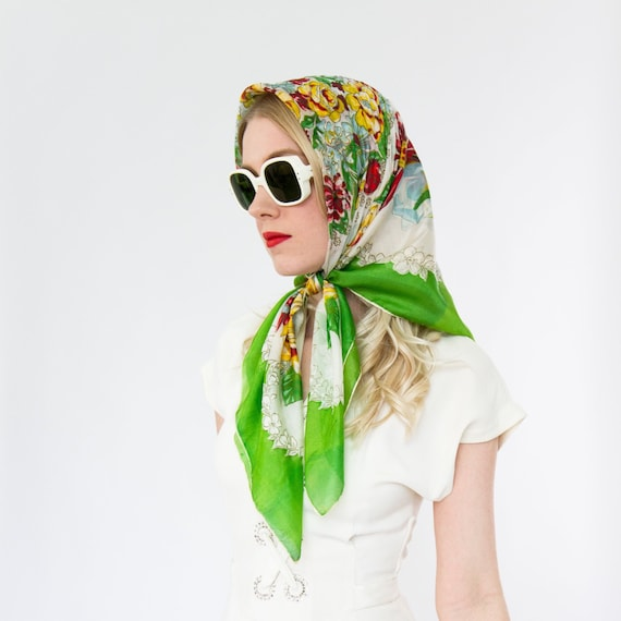 vintage 1940s floral scarf | 1950s green silk scar