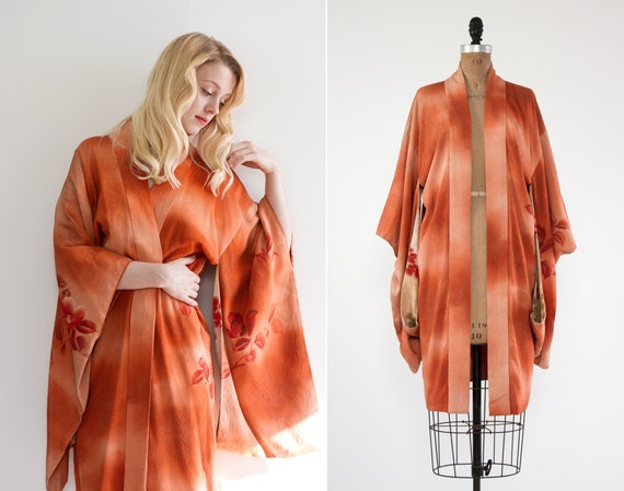 vintage kimono robe | haori jacket | orange kimono | silk crepe robe