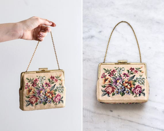 vintage 1950s needlepoint purse | 50s floral handbag | antique petit point purse | 1950s evening purse