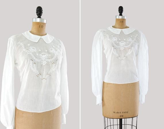 vintage Edwardian cotton blouse | antique white v… - image 1