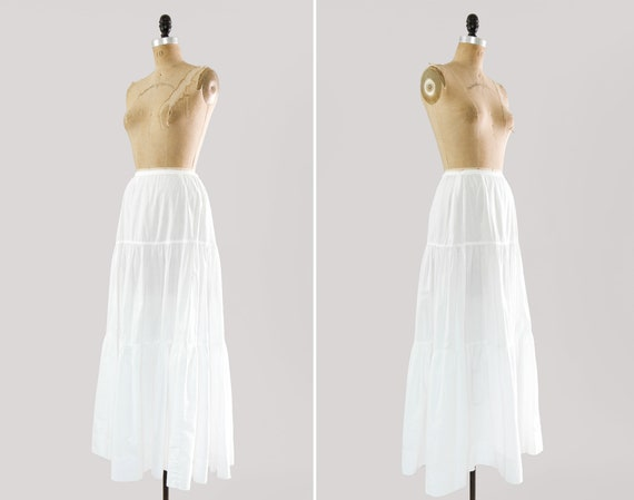 antique 1910s skirt | vintage Edwardian petticoat | early 1900s victorian white cotton skirt