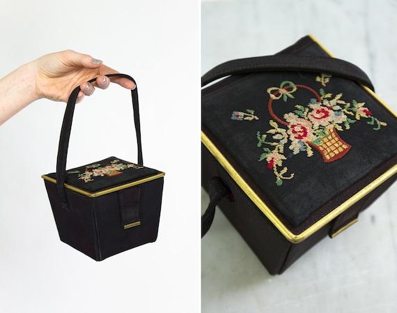 vintage needlepoint box purse | 1930s handbag | 30s 40s evening bag