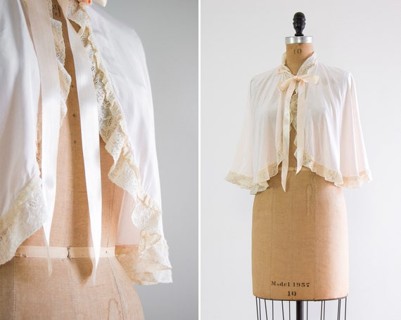 vintage 1930s bed jacket capelet | vintage lingerie silk satin cape | pink 1930s blouse
