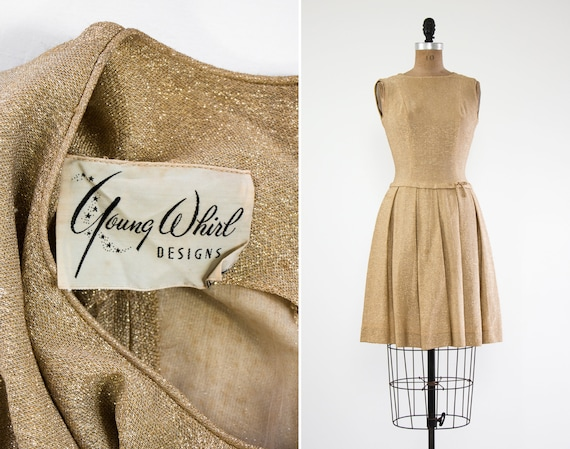 vintage 1950s gold dress | 60s lurex dress | 50s dress xs | 1950s party dress