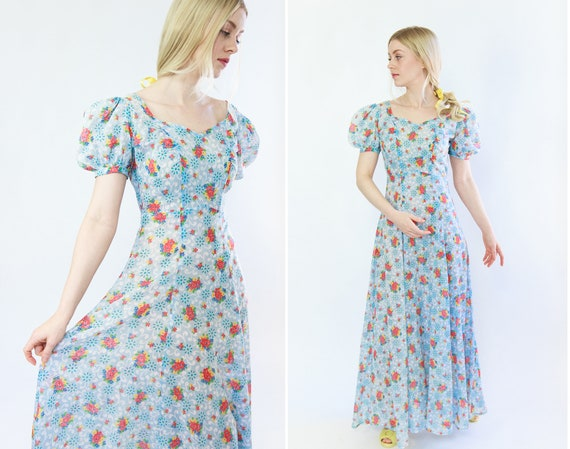 vintage 1930s dress | blue 30s feedsack cotton max