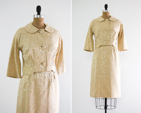 Vintage 1960s Yellow Dress And Jacket 60s Brocade Dress Etsy