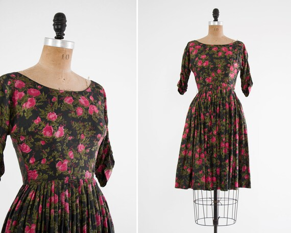vintage 1950s party dress | 50s floral dress | 1950s silk dress | pink henry rosenfeld dress