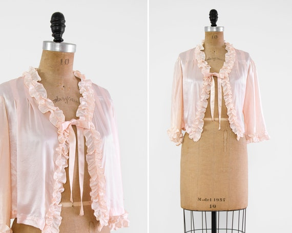 vintage 1930s bed jacket | 1940s satin blouse | 1930s lingerie | 1930s top