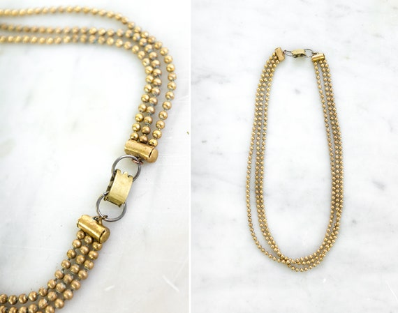 vintage 1930s necklace | 30s brass ball chain necklace | 1930s choker