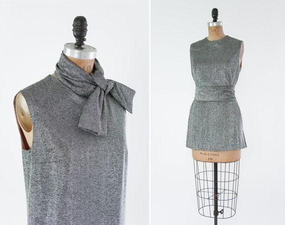 vintage 1960s mini dress | 60s mod party dress | silver 60s gogo dress