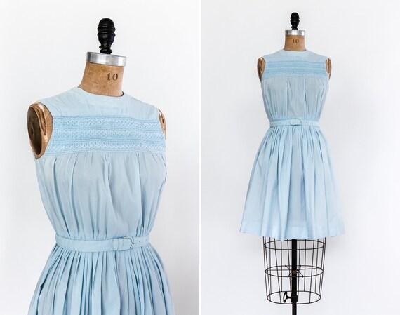 vintage blue 1950s dress | 1960s embroidered day dress | light blue 50s dress | 60s 50s summer dress