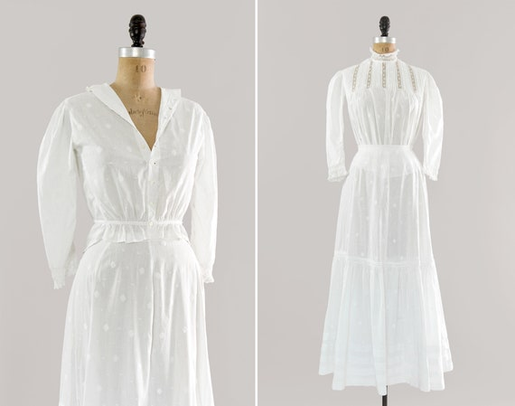 vintage edwardian dress set | antique white cotton 1910s dress | early 1900s blouse and skirt