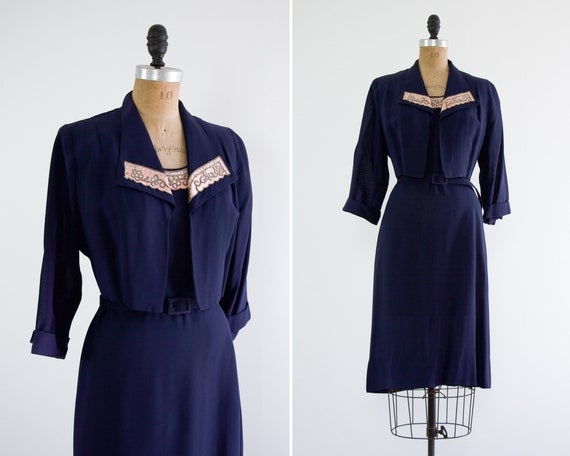vintage 1940s blue dress | vintage 40s dress and jacket | 1940s womens dress set large