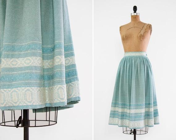 vintage 1950s skirt   50s circle skirt   1950s cotton skirt   light blue 40s skirt