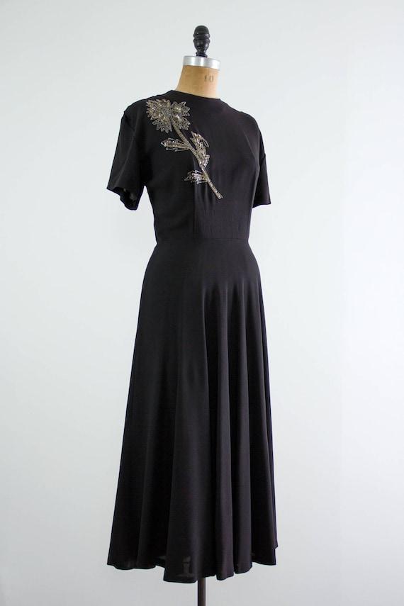 vintage 1940s rayon dress | 40s black dress | 194… - image 5