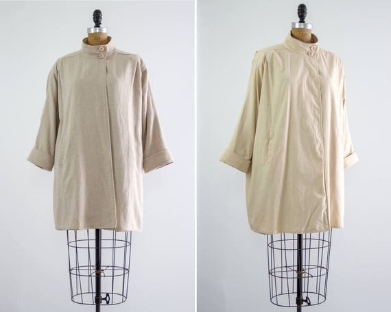 vintage 90s minimalist coat | vintage tweed coat | 1990s reversible jacket