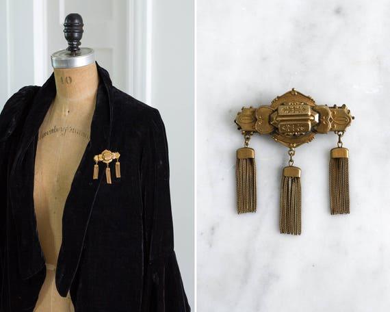vintage 1940s brooch | victorian revival 40s brooch | art nouveau tassel brooch | edwardian brooch pin