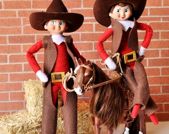 Elf Cowboy and Cowgirl Elf Outfit, Cowboy Chinks, Vest, and Hat, Elf Accessories, Elf Clothing
