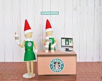 Elf Bucks, Starbucks Display Prop, Doll Costume, Elf clothes, Christmas Elf, Scout Elf, Shelf your Holiday Elf, Elf Accessories and Props