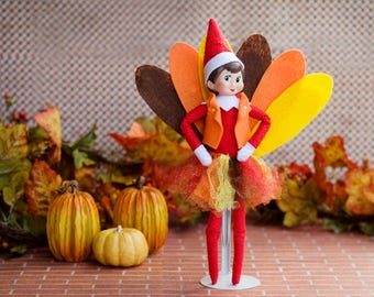Elf Thanksgiving Turkey outfit, Elf / Clothes / Accessories / clothing / Shelf/Christmas/ Doll clothing