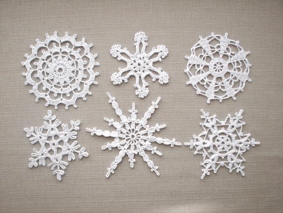 Weißen Schneeflocken Häkeln Weihnachten Zuhause Dekore Spitze Etsy