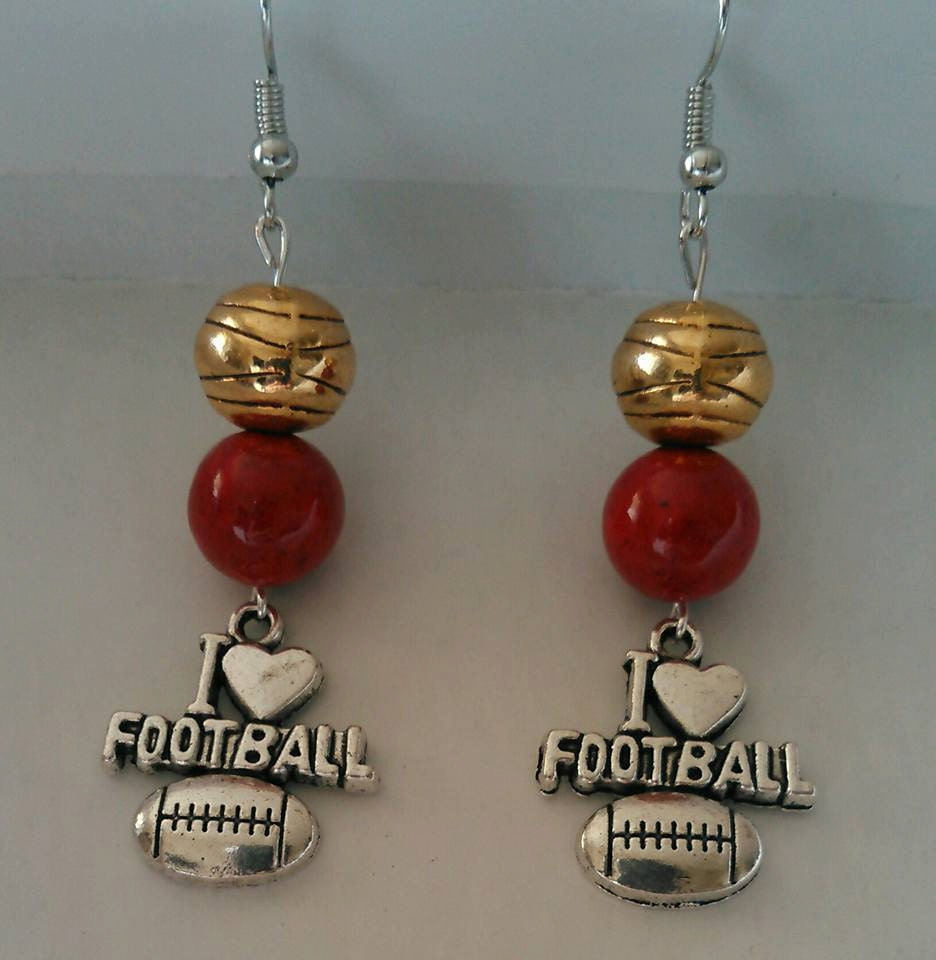 49ers Inspired Red And Gold I Love Football Etsy