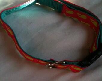 "Adjustable whale print dog collar 13-22"""