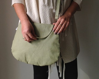 Faux Leather Bag, Vegan Cross body bag, Green vegan crossbody bag, Messenger bag ,Green Messenger bag, Green Shoulder bag, vegan bag