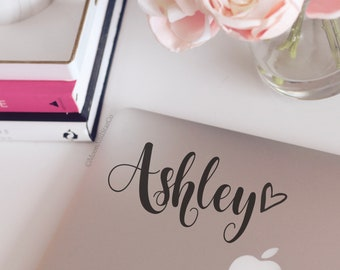 Custom Hand Lettered Name w/ Heart. Name Decal, Name Sticker, Car Decal Laptop Stickers, Laptop Decal, Macbook Decal, Car Decal, Vinyl Decal