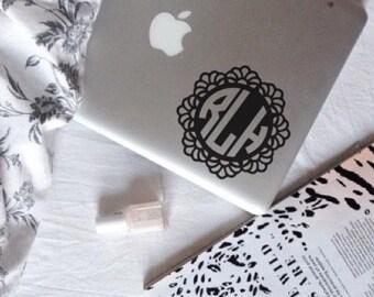 M017  Lace Circle Monogram, Laptop Stickers, Laptop Decal, Macbook Decal, Car Decal, Vinyl Decal