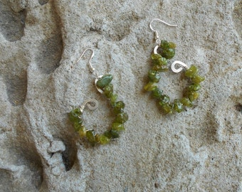 Peridot hammered sterling silver earrings
