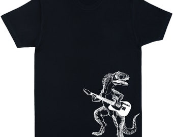 Dinosaur Playing Guitar Mens T Shirt Gift For Him Boyfriend Musician Birthday Christmas Gifts Husband SEEMBO