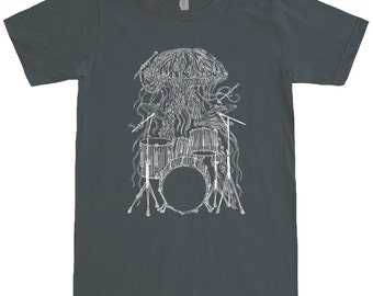 Jellyfish Playing Drums Unisex T Shirt Gift For Musician Boyfriend Him Mens The Drummer Husband Birthday Gifts SEEMBO