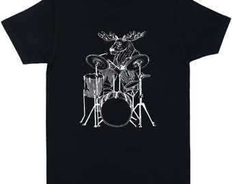 Moose Playing Drums Mens T Shirt Gift For Him Boyfriend Drummer Husband Birthday Musician Gifts Men SEEMBO