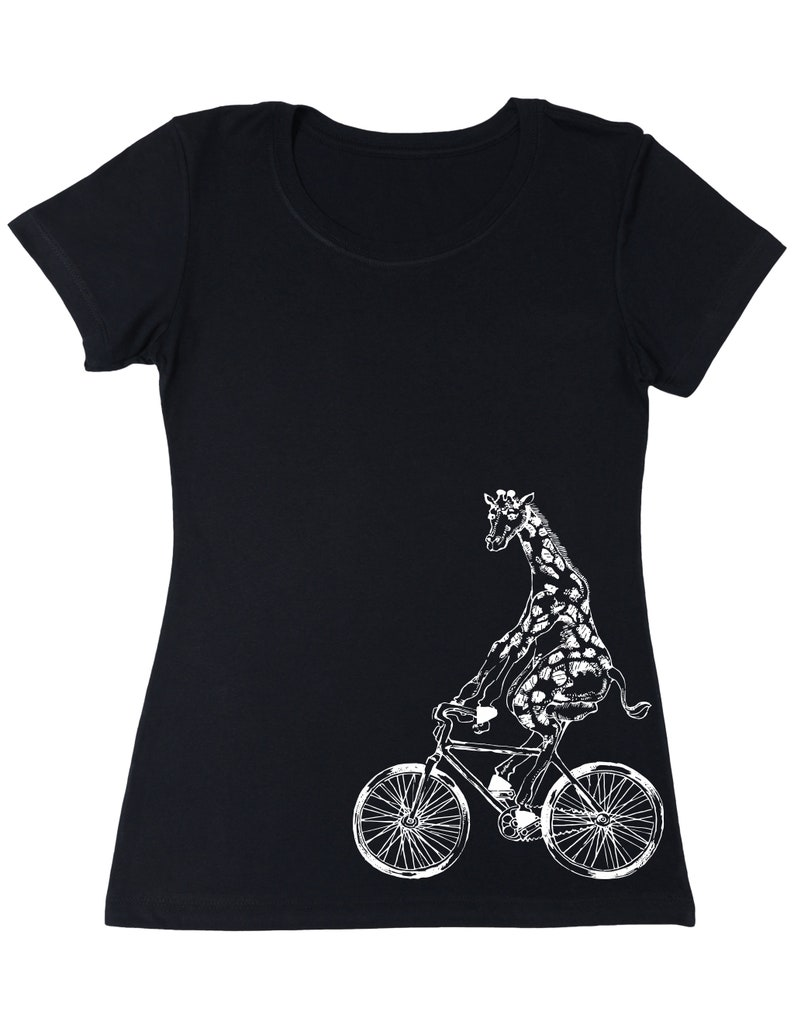 682d961d4 Giraffe On A Bicycle Women's T-Shirt Gift for Girlfriend | Etsy