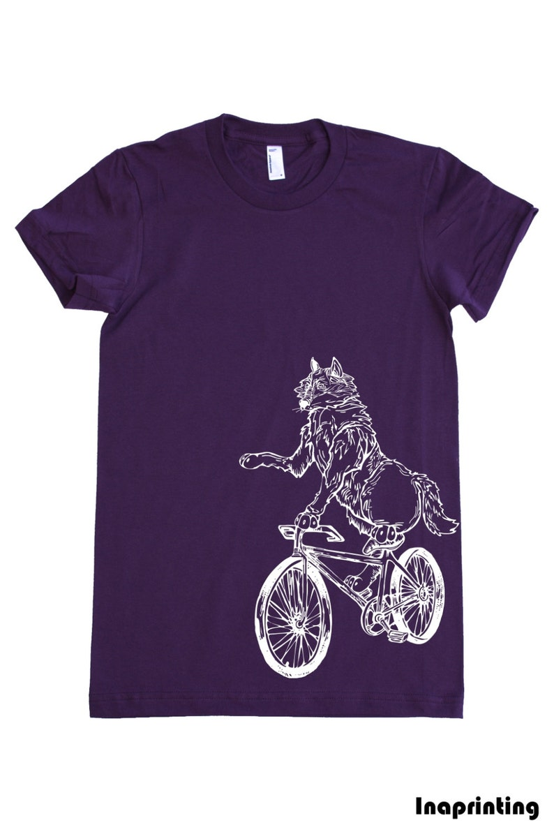 9d380d79d Wolf On A Bicycle Women's T-Shirt Gift for Girlfriend | Etsy