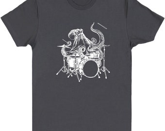 Octopus Playing Drums Men's T-Shirt Gift, Drummer Shirt Octopus Gift Drumming Shirt, Drummer Tee Drum Shirts, Music Gifts Mens Tshirt SEEMBO