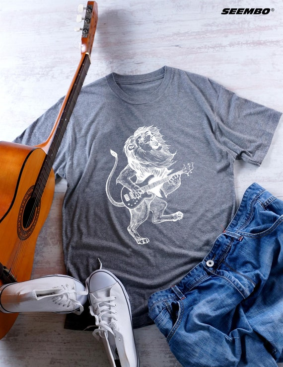 Lion Playing Guitar Unisex Tri Blend T Shirt Gift For Him