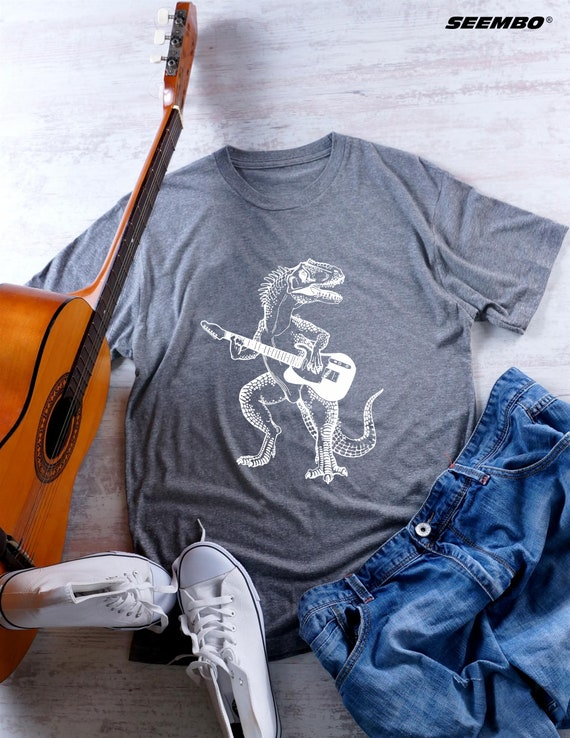 Dinosaur Playing Guitar Mens T Shirt Gift For Him