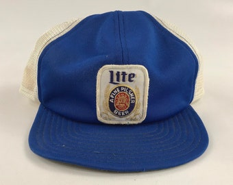 b100c3dbd0dca Miller Lite emroidered patch trucker Baseball hat vintage snapback cap one  size fits snap back streetwear mesh blue white