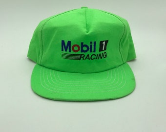 47f4e19f43d42 Bright Green Mobile 1 NASCAR racing 1990s embroidered patch white vintage  trucker mesh hat cap snap back baseball cap snapback auto car