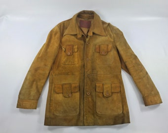 Hides at Alexanders suede leather coat vintage work hunting jacket tan brown  42 large 0e5881a6af81