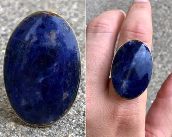 vintage Mexican sterling silver lapis inlay solitaire ring size 7.5