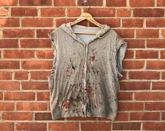Thrashed painters zip up hoody sweatshirt vintage sleeveless workwear lined painted art