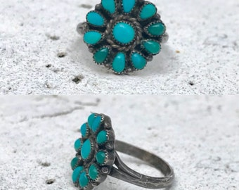 Native American sterling silver turquoise cluster flower southwestern southwest ring size 6.25