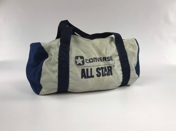 f0ee972147 Converse All Star gym bag vintage silver blue travel carry on | Etsy