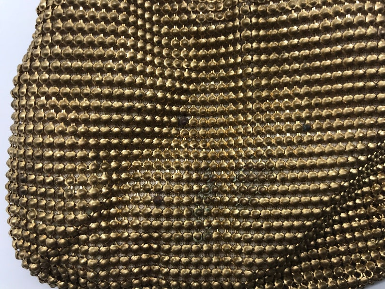 Whiting and Davis Mesh Bags gold tone metal purse pouch chain strap vintage kiss lock flapper Art Deco Hollywood Regency